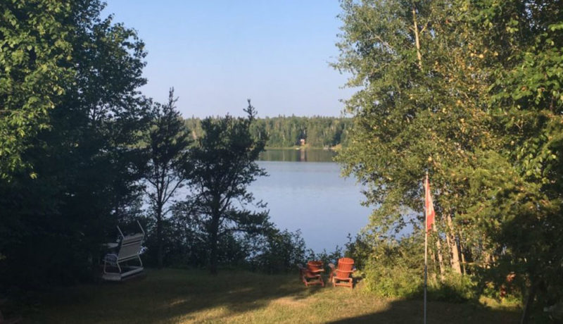 Chaises rouge dans une cours faisant face à un lac en forêt
