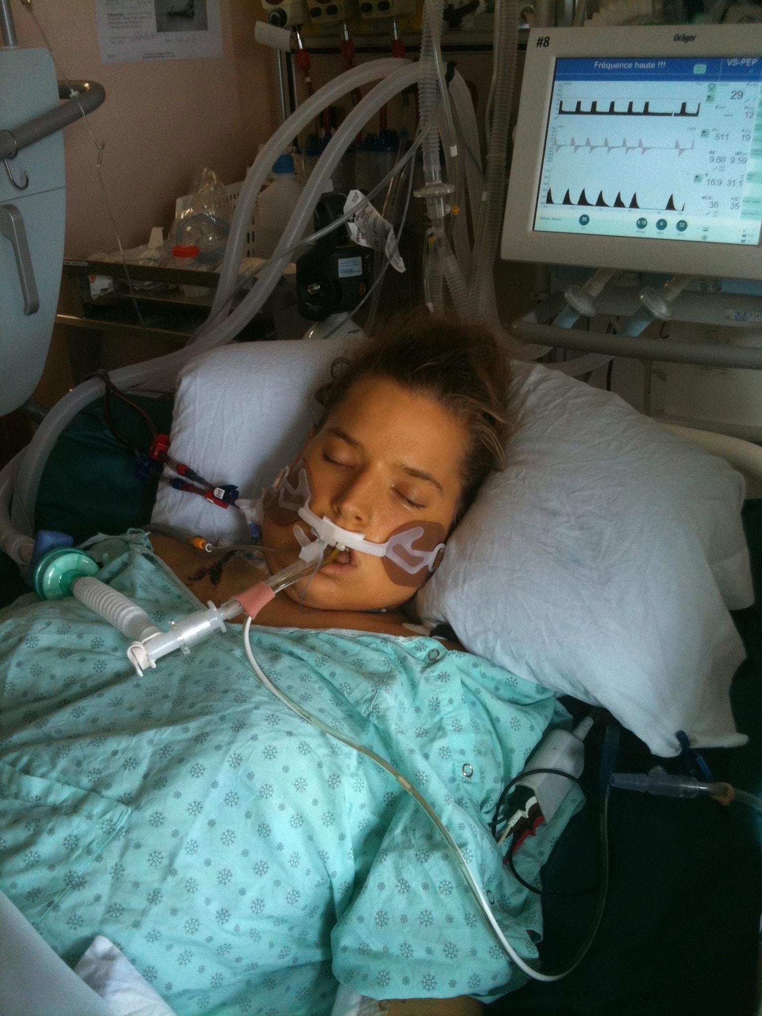 Justine dans le coma